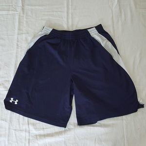 Mens Navy Blue & White Under Armour Shorts Medium